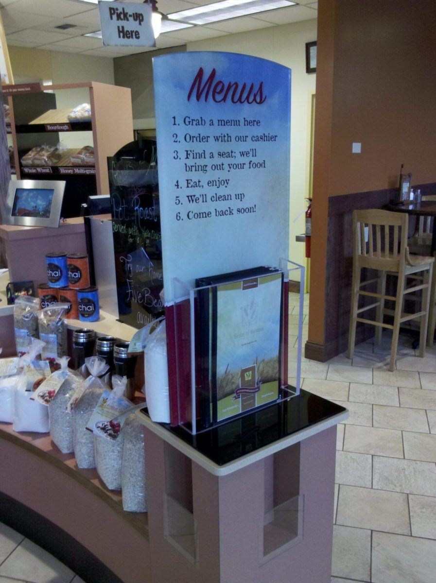 Custom acrylic menu display. Designed by Kinetic