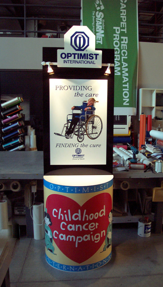 Custom Optimist  donation kiosk with locking money receptacle