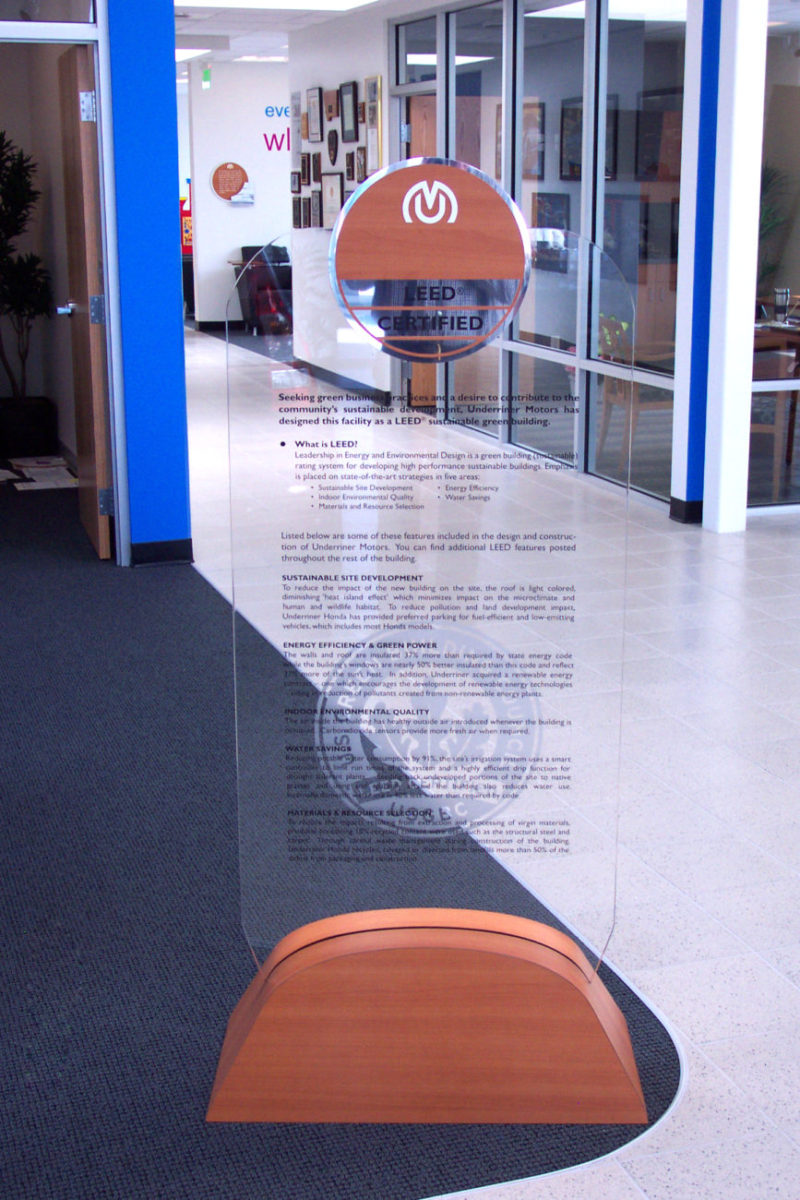 Acrylic LEED display. Designed by CTA Architects/Engineers