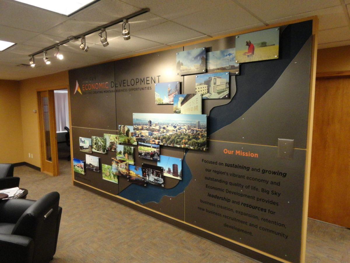 Custom display wall. Designed by CTA Architects/Engineers