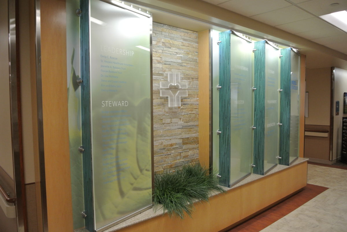 Custom donor wall. Designed by CTA Architects/Engineers