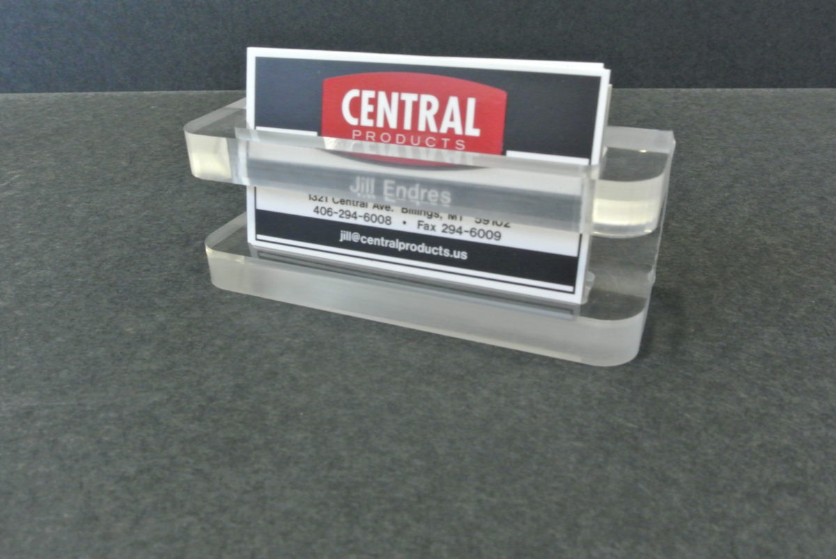 Custom acrylic business card holders.