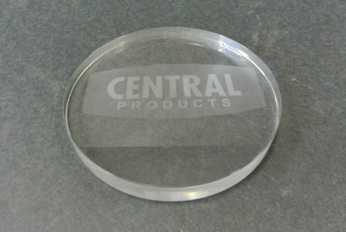 Etched acrylic coasters.